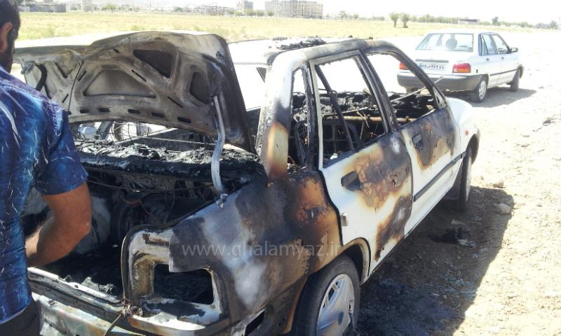 آتش گرفتن پراید 132 در درگز - گاز مایع